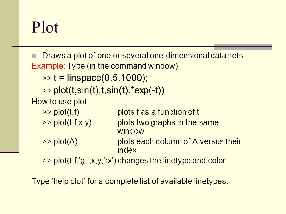 Plot Draws a plot of one or several one-dimensional data sets.