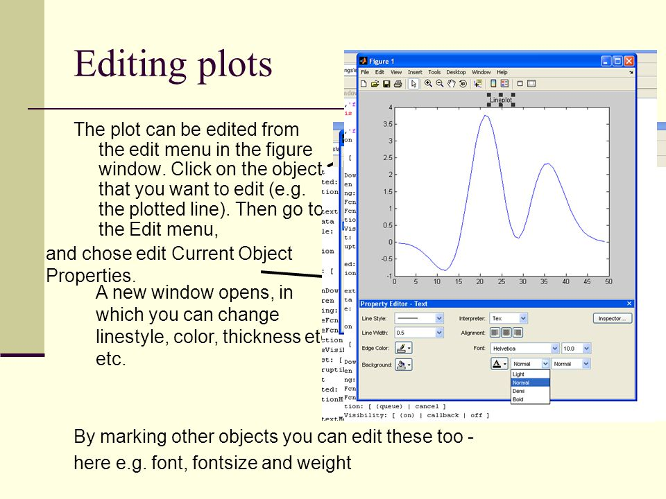 Editing plots By marking other objects you can edit these too - here e.g. font, fontsize and weight.