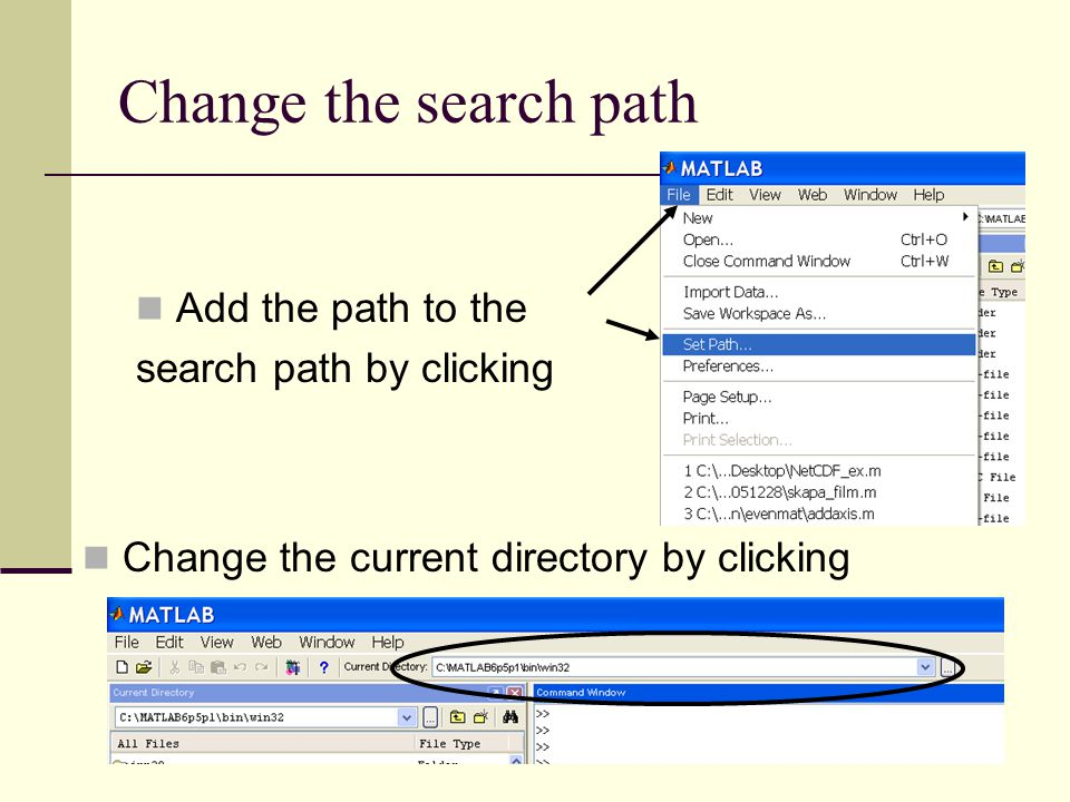 Change the search path Add the path to the search path by clicking