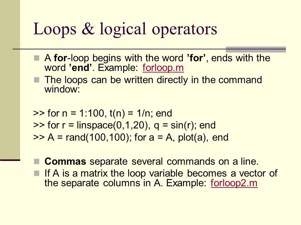 Loops & logical operators
