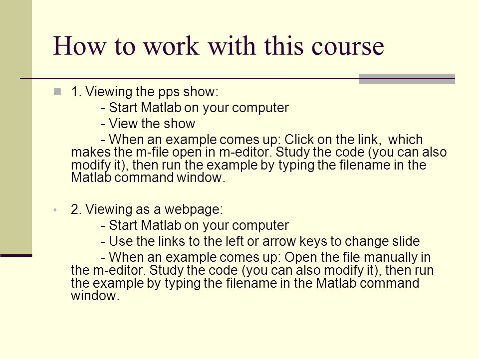 How to work with this course