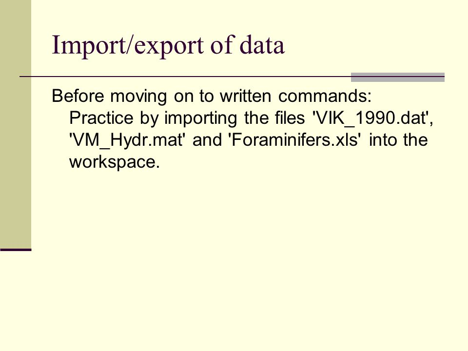 Import/export of data
