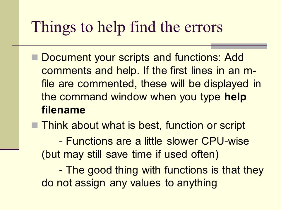 Things to help find the errors