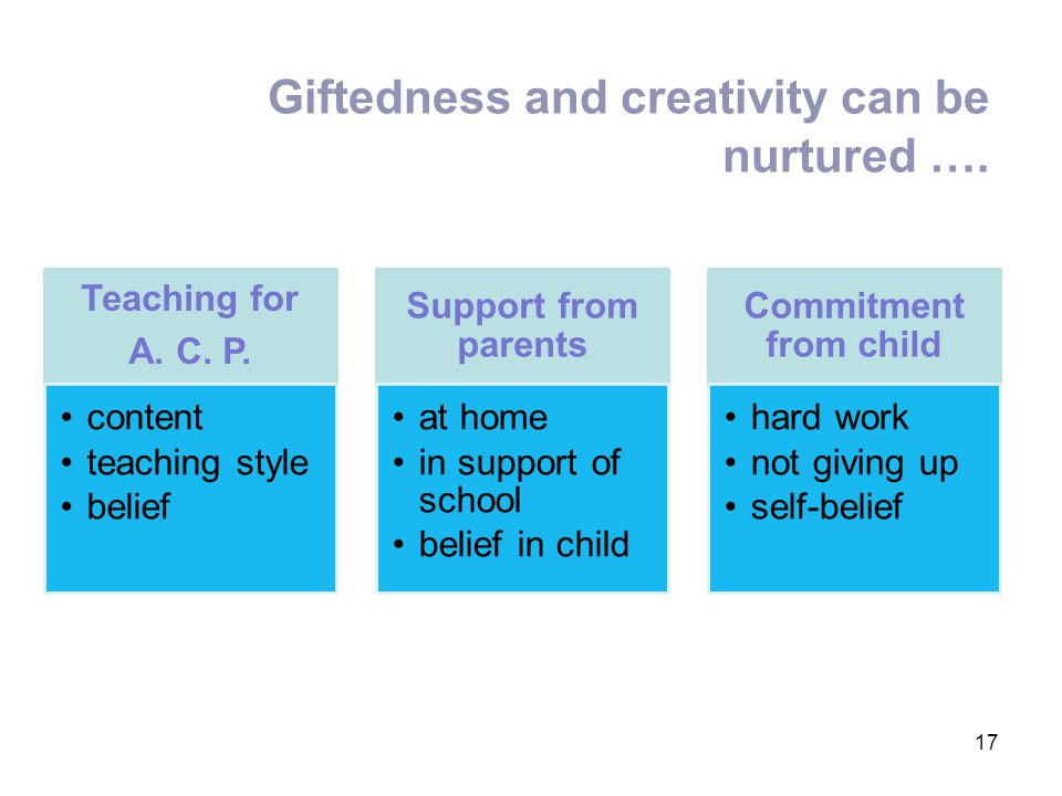 Giftedness and creativity can be nurtured ….