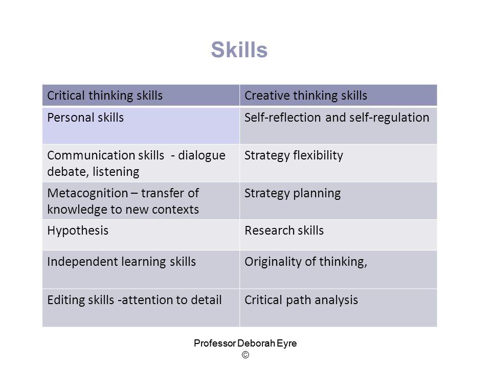 Skills Critical thinking skills Creative thinking skills