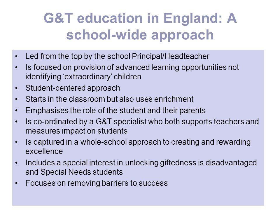 G&T education in England: A school-wide approach