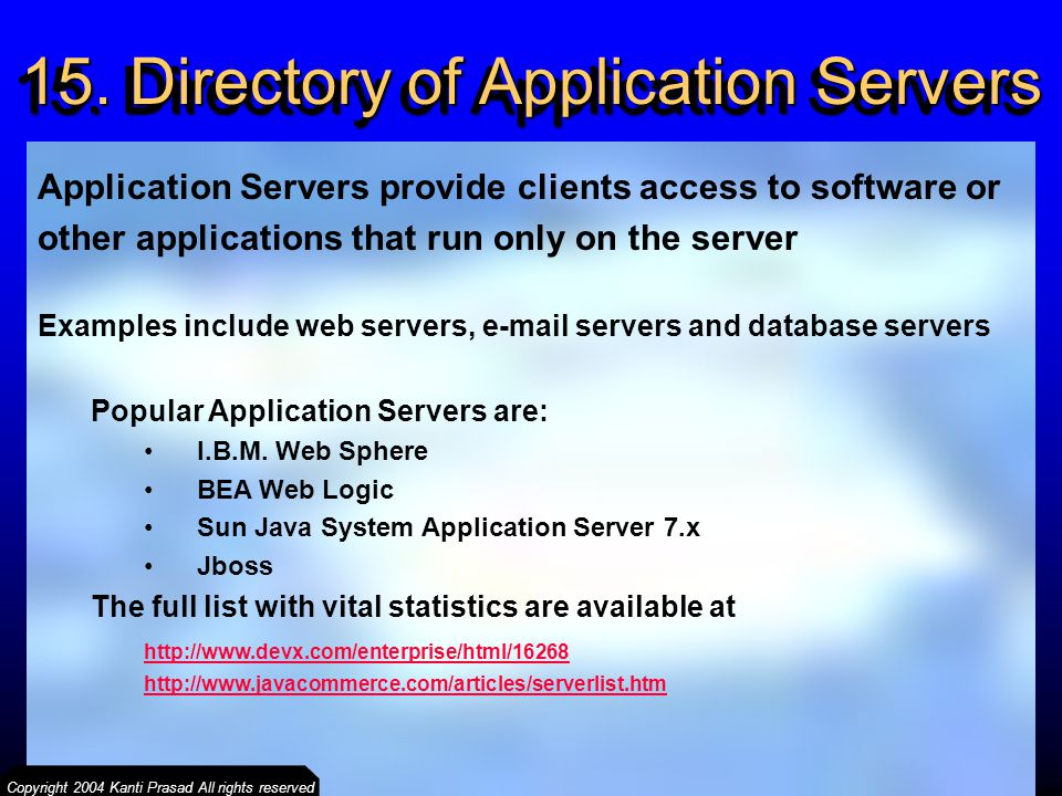 15. Directory of Application Servers