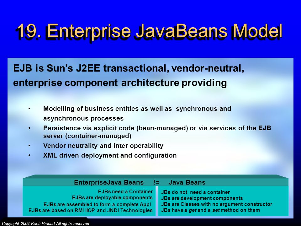 19. Enterprise JavaBeans Model