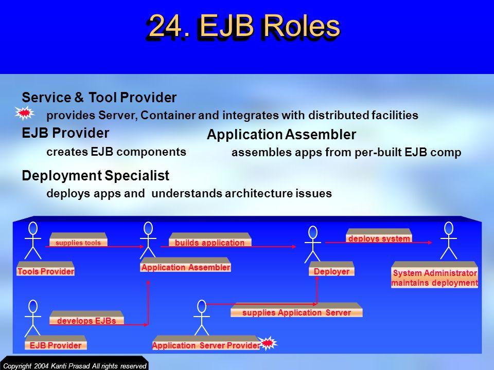 24. EJB Roles Service & Tool Provider EJB Provider