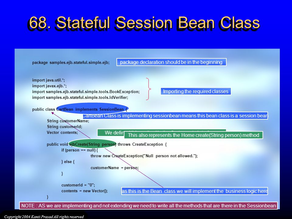 68. Stateful Session Bean Class