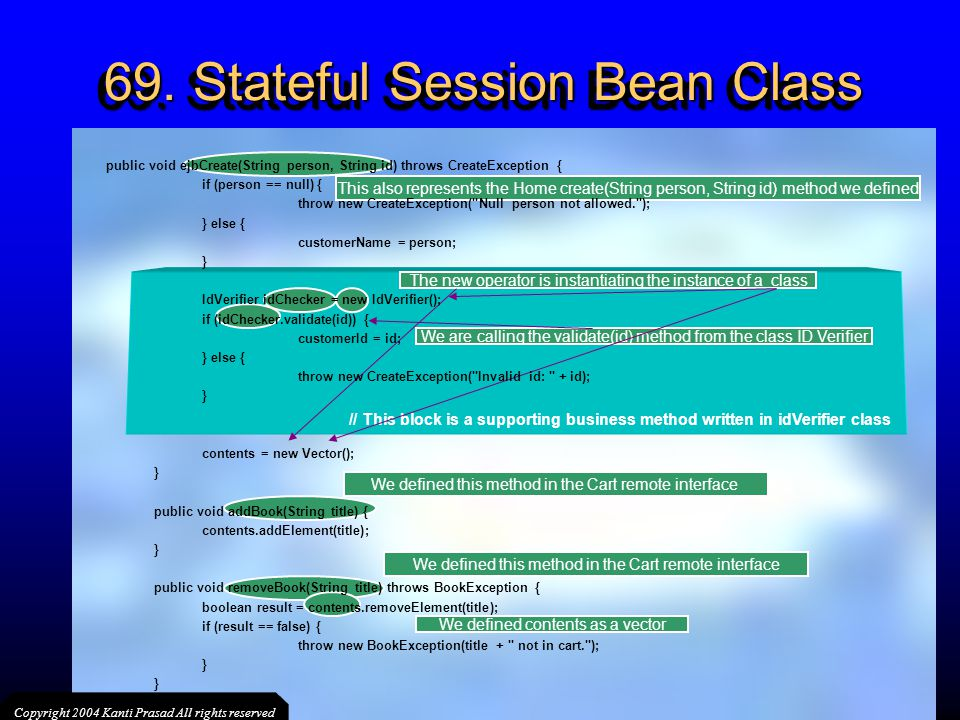 69. Stateful Session Bean Class