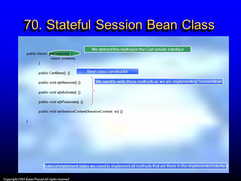 70. Stateful Session Bean Class