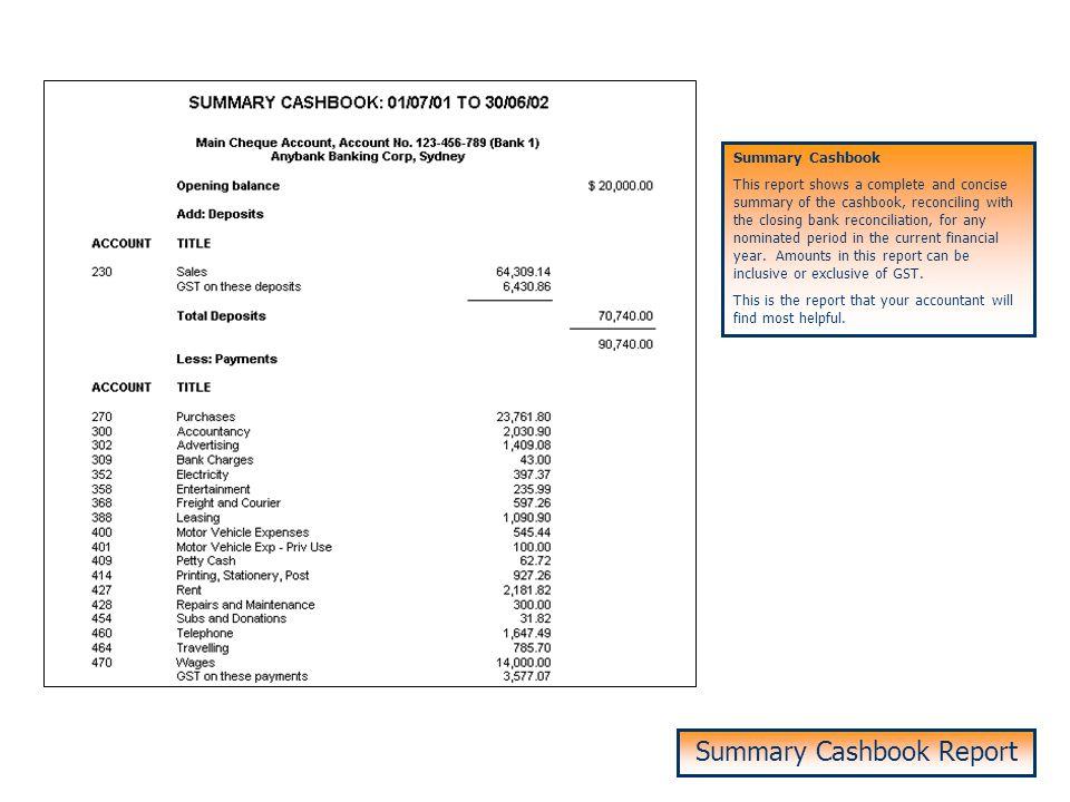 Summary Cashbook Report