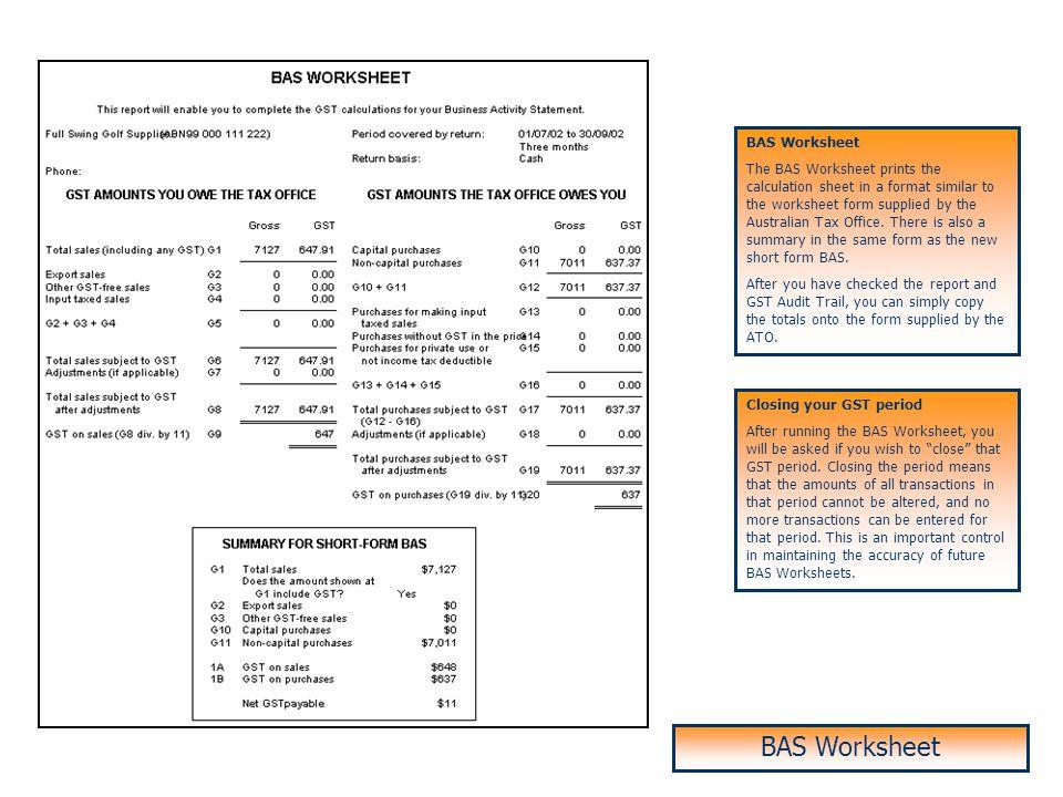 BAS Worksheet BAS Worksheet BAS Worksheet