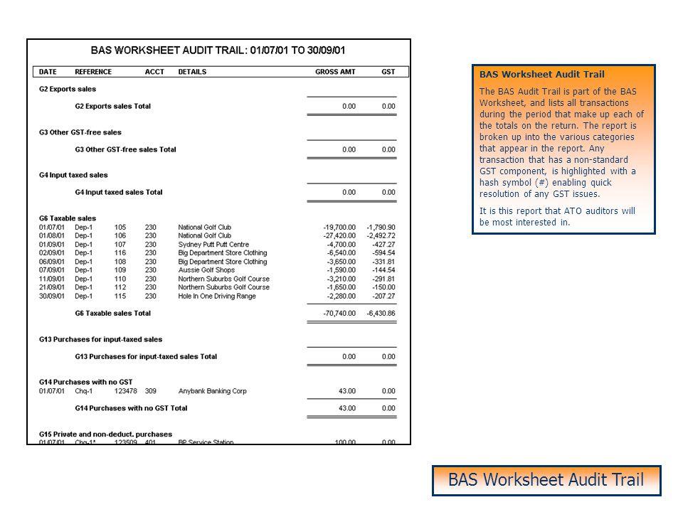 BAS Worksheet Audit Trail
