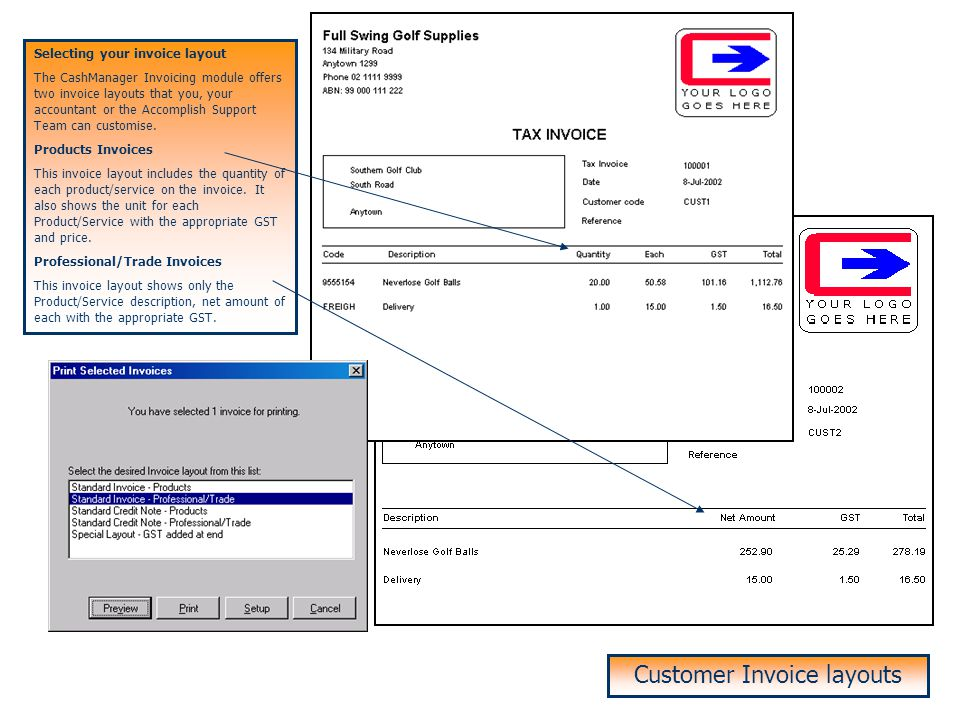 Customer Invoice layouts
