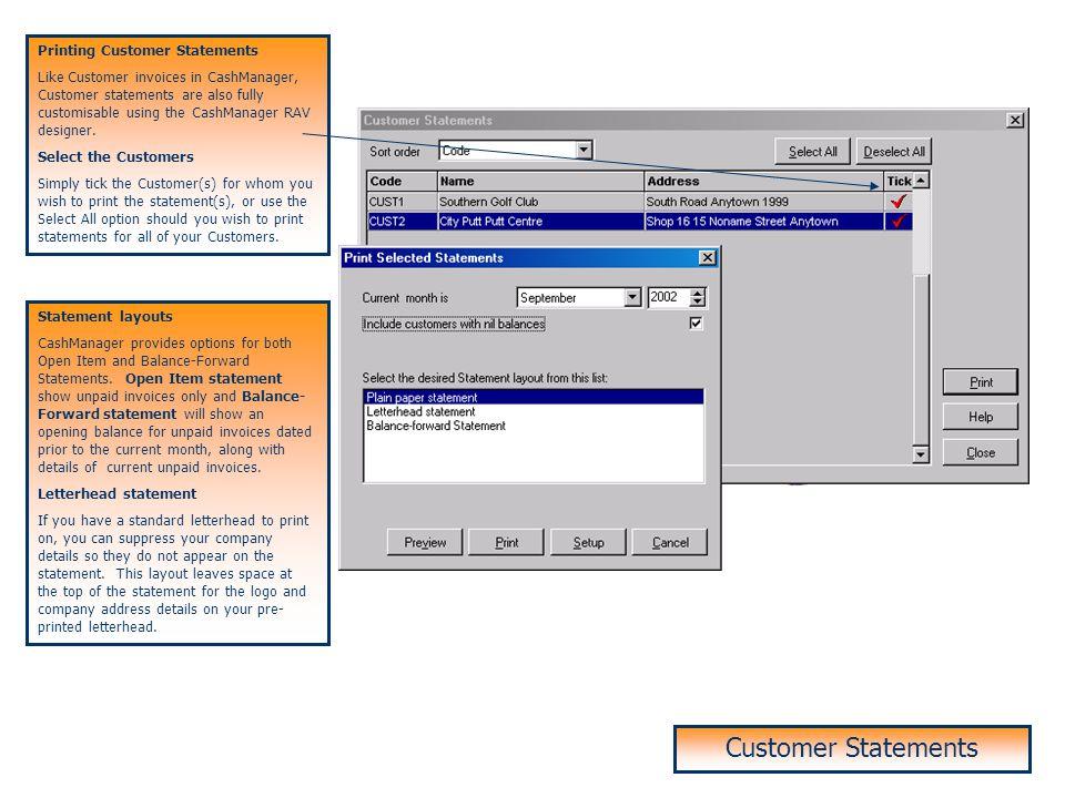 Customer Statements Customer Statements Printing Customer Statements