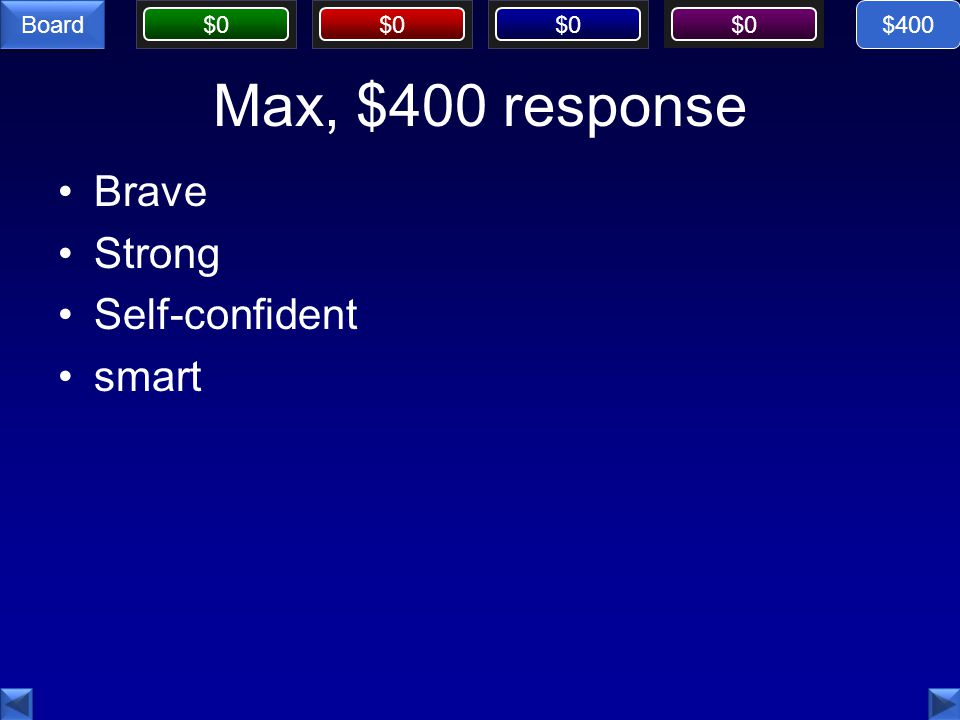 $400 Max, $400 response Brave Strong Self-confident smart
