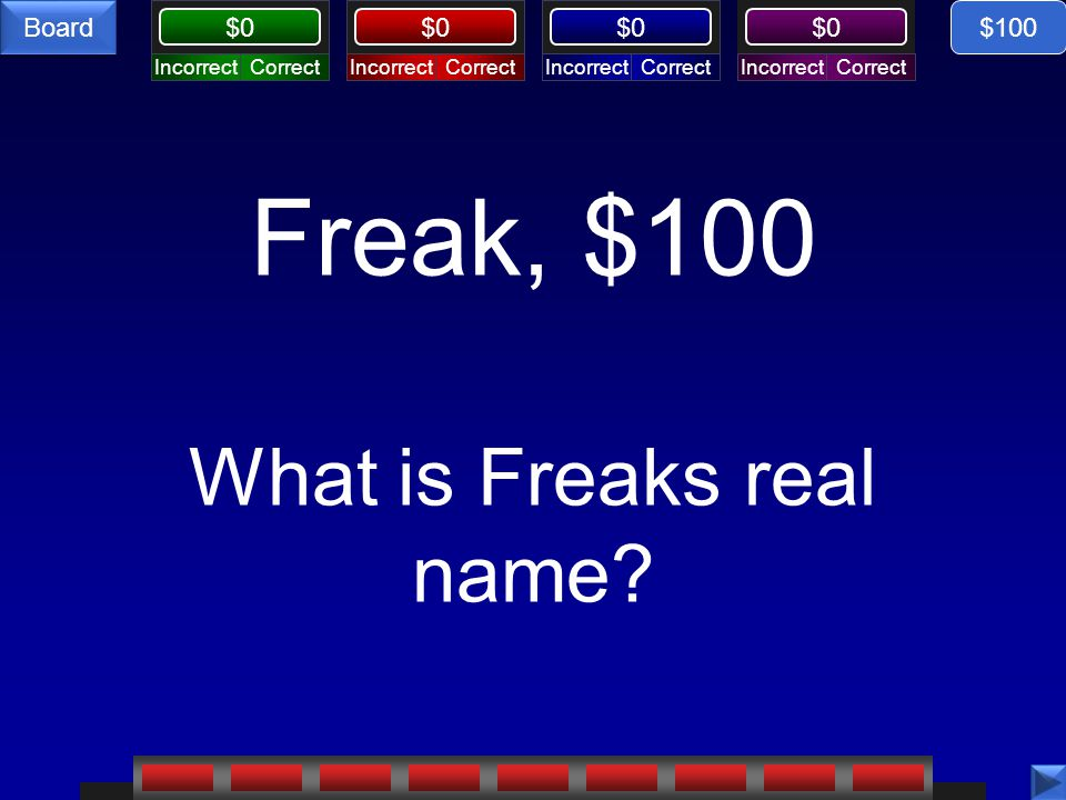 Freak, $100 What is Freaks real name