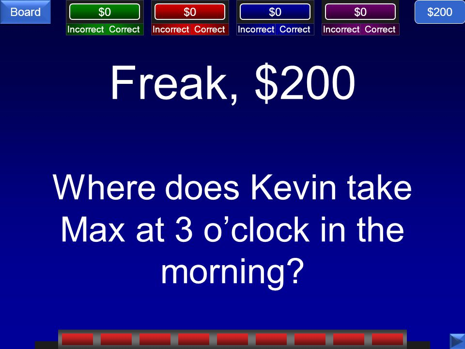 Freak, $200 Where does Kevin take Max at 3 o'clock in the morning