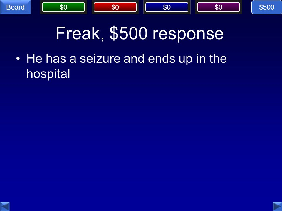 $500 Freak, $500 response He has a seizure and ends up in the hospital