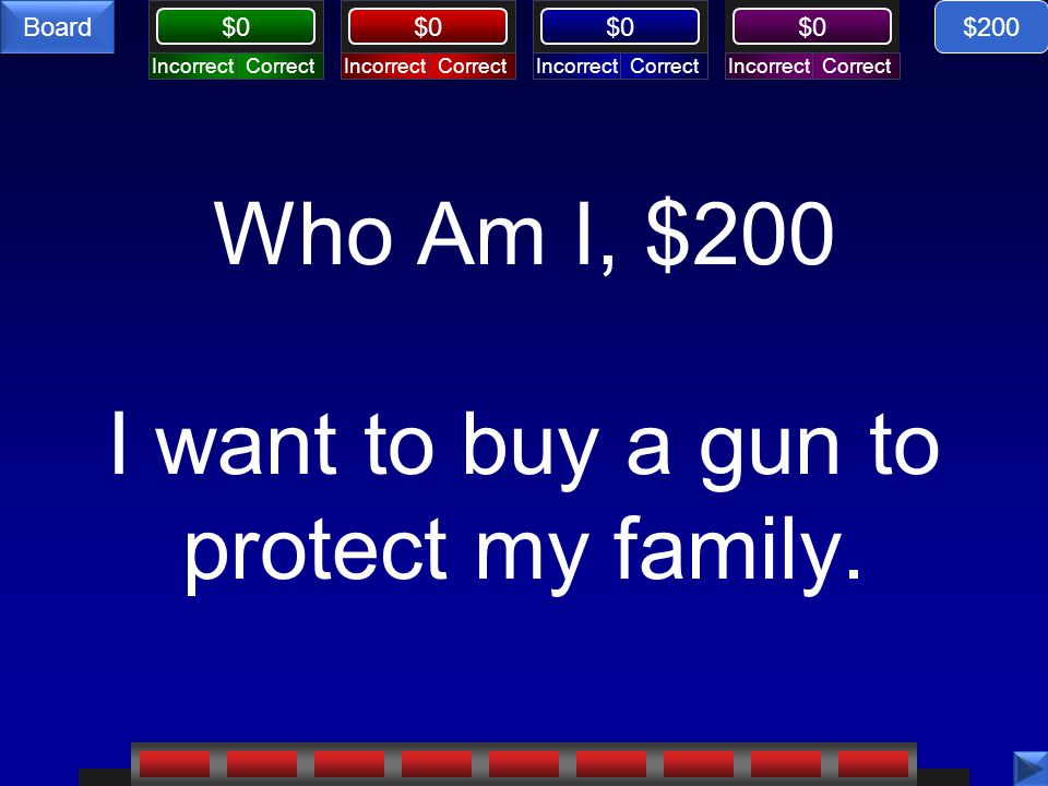 Who Am I, $200 I want to buy a gun to protect my family.