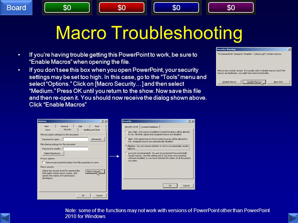 Macro Troubleshooting