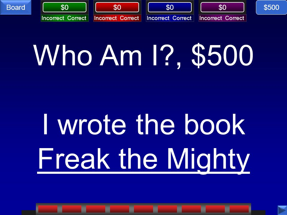 Who Am I , $500 I wrote the book Freak the Mighty