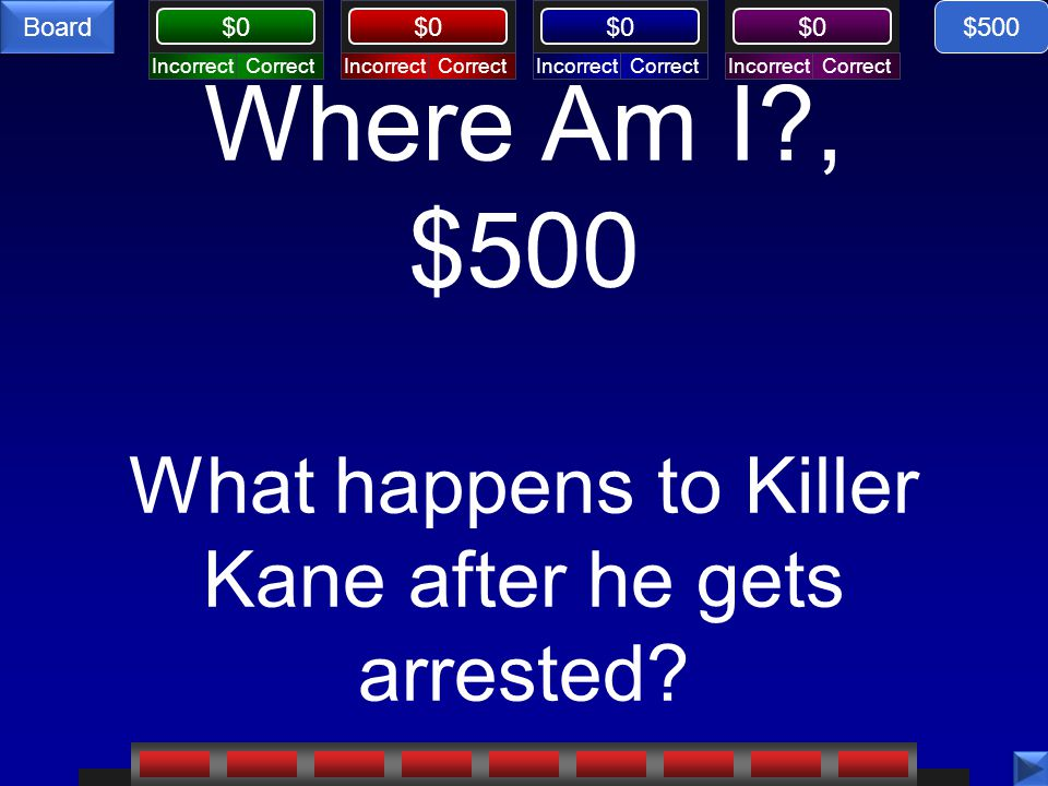 Where Am I , $500 What happens to Killer Kane after he gets arrested