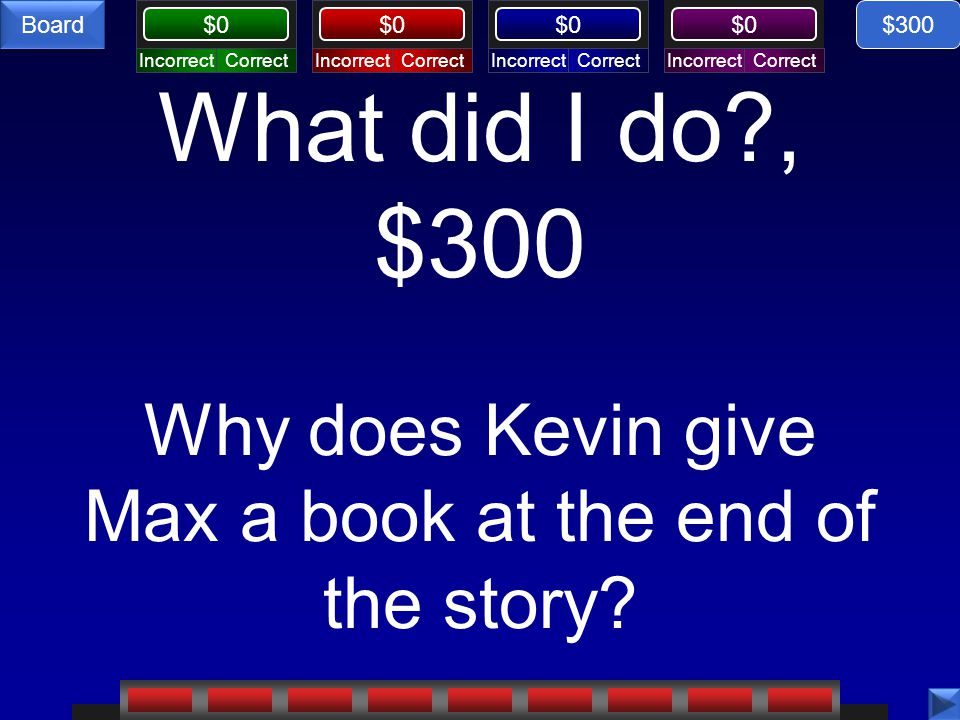 $300 What did I do , $300 Why does Kevin give Max a book at the end of the story