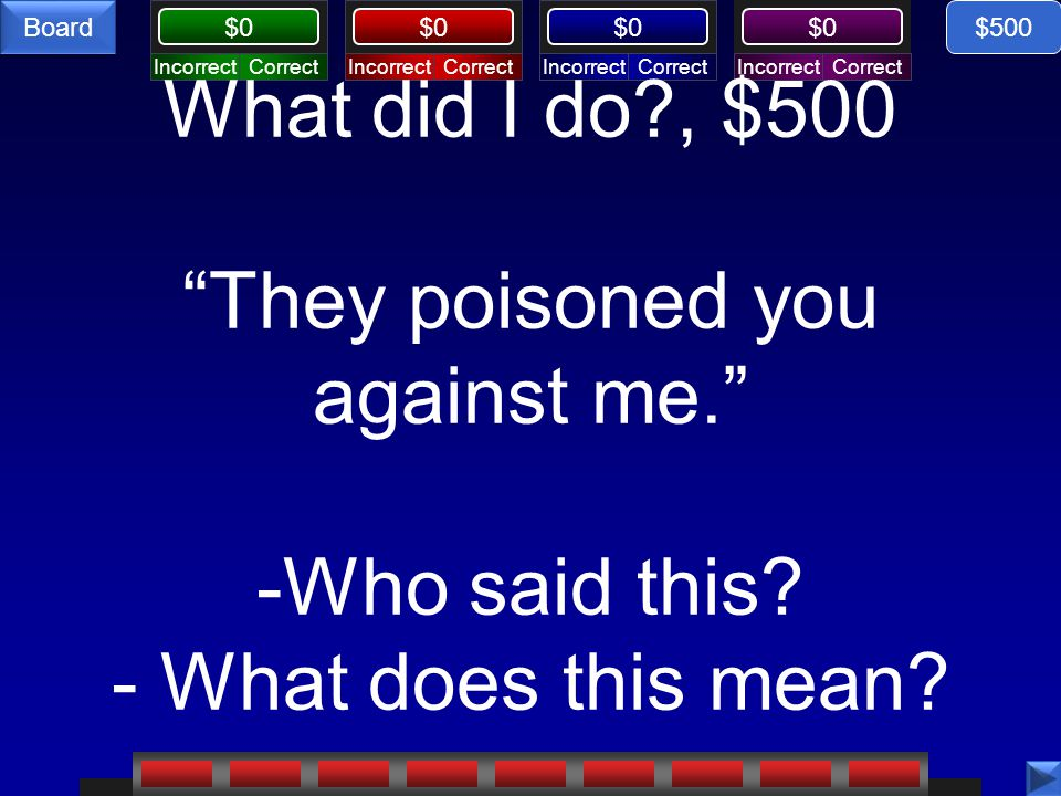 $500 What did I do , $500 They poisoned you against me. -Who said this - What does this mean