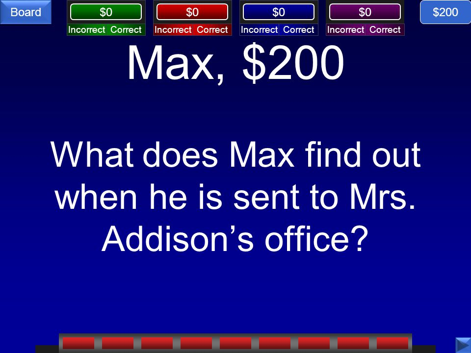 $200 Max, $200 What does Max find out when he is sent to Mrs. Addison's office