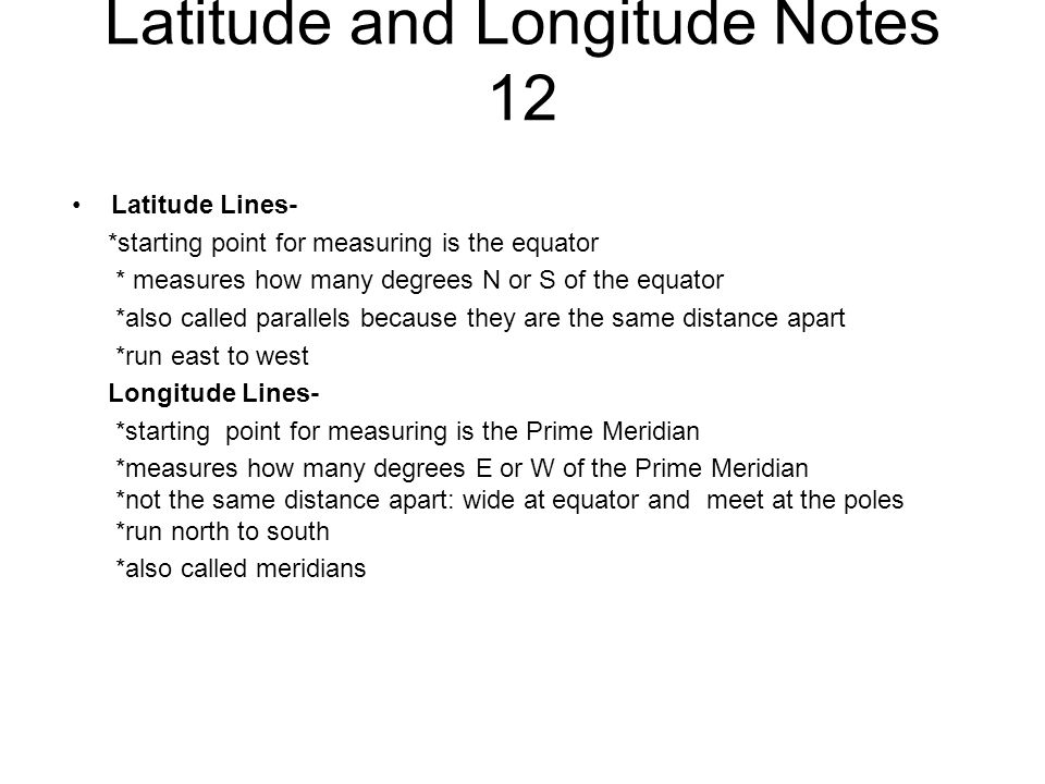 Latitude and Longitude Notes 12