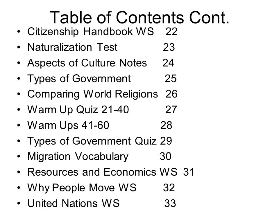 Table of Contents Cont. Citizenship Handbook WS 22