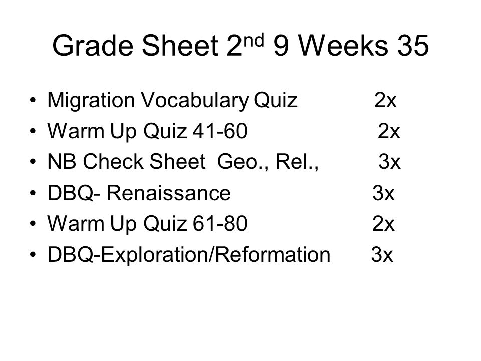 Grade Sheet 2nd 9 Weeks 35 Migration Vocabulary Quiz 2x