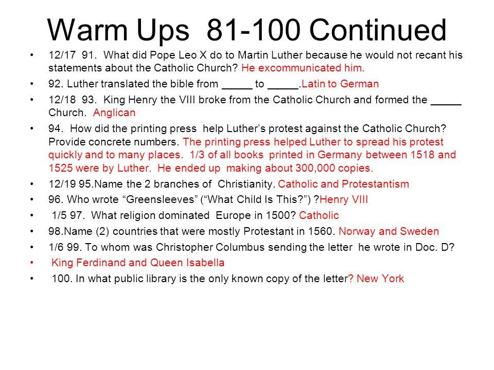 Warm Ups 81-100 Continued