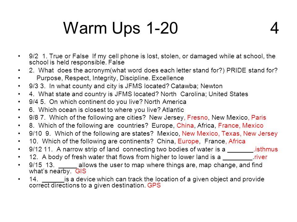 Warm Ups 1-20 4
