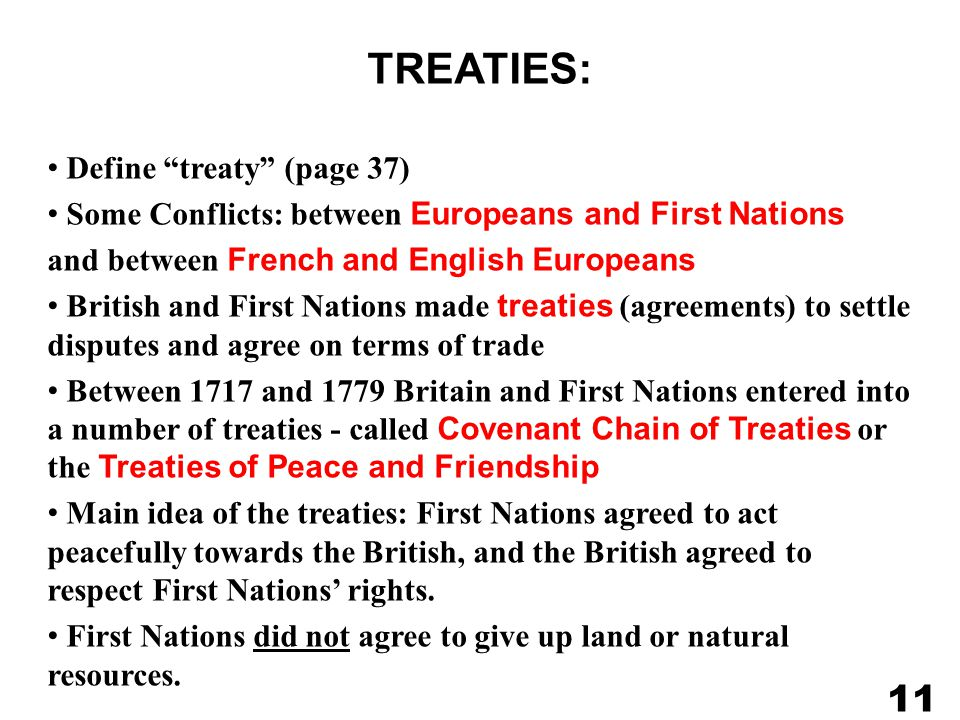 TREATIES: 11 Define treaty (page 37)