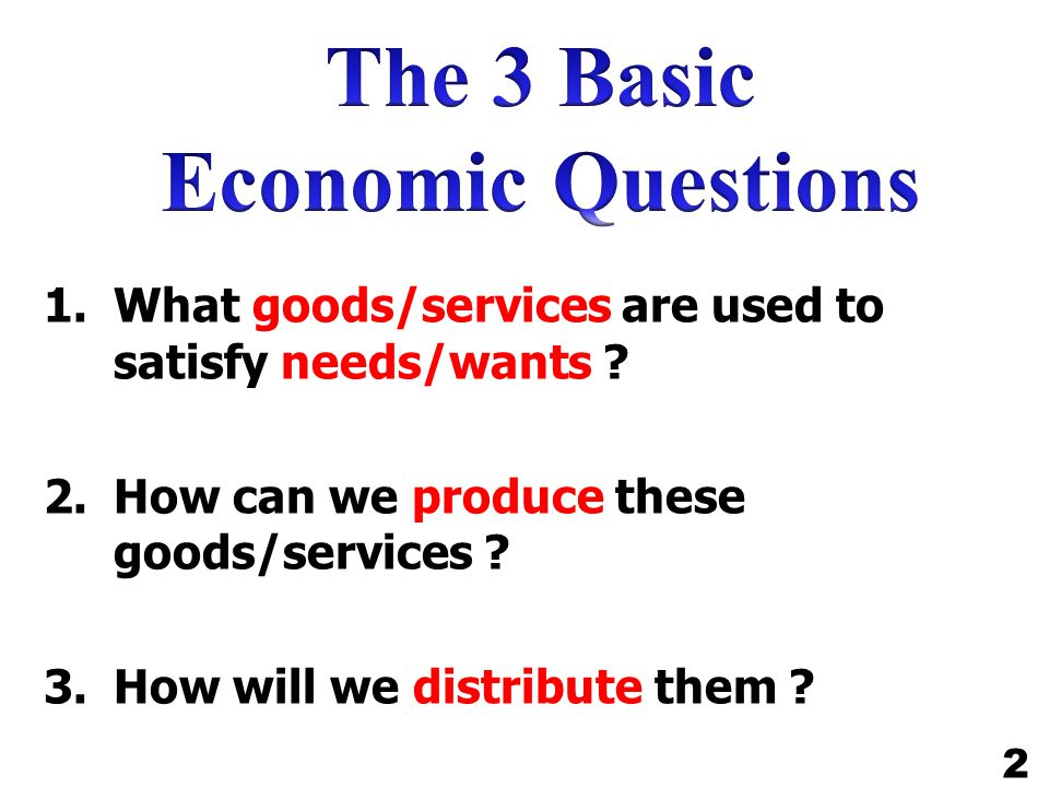 The 3 Basic Economic Questions