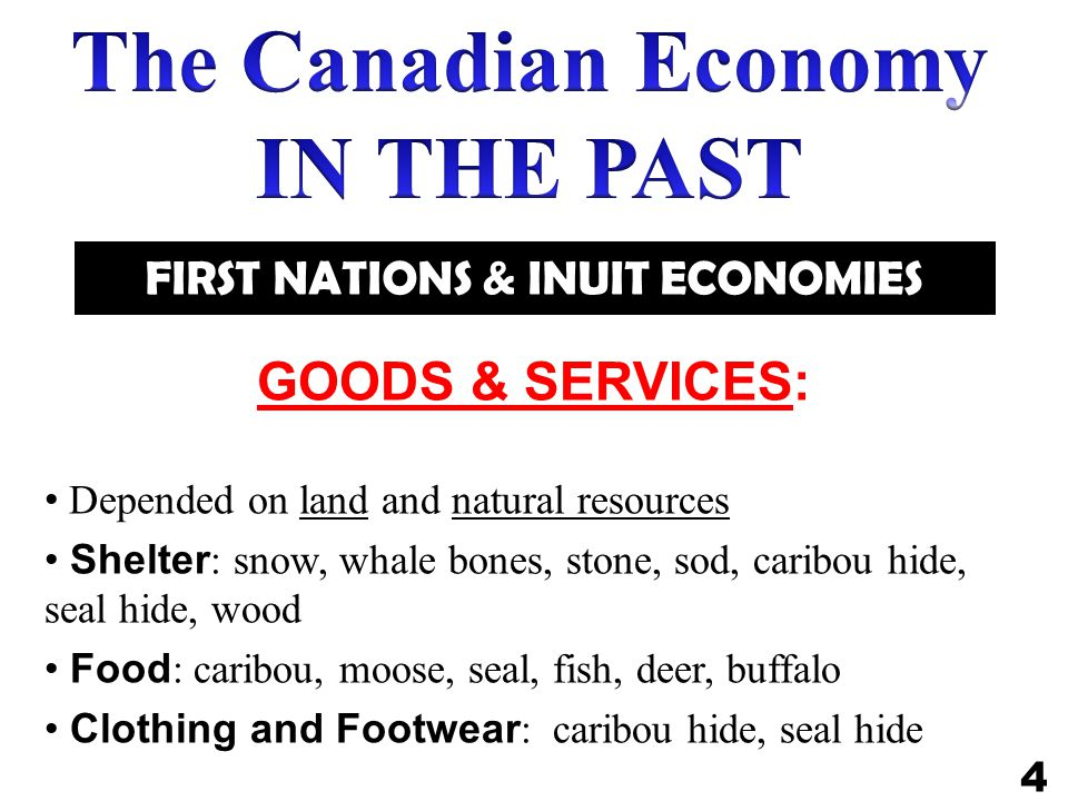 The Canadian Economy IN THE PAST FIRST NATIONS & INUIT ECONOMIES