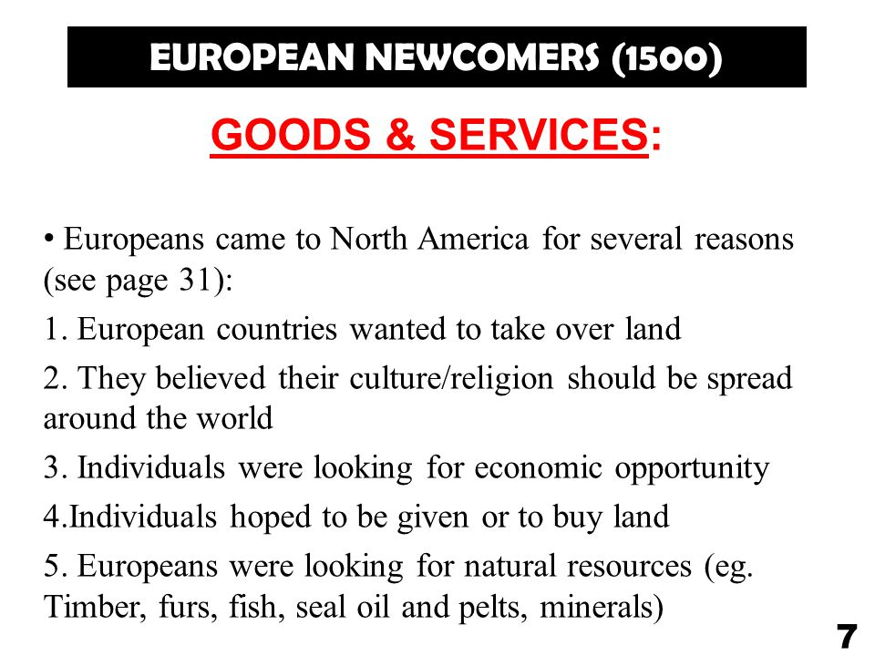 GOODS & SERVICES: EUROPEAN NEWCOMERS (1500)