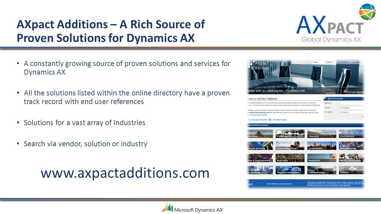 AXpact Additions – A Rich Source of Proven Solutions for Dynamics AX