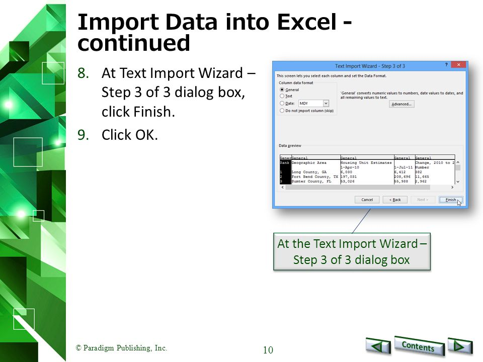 Import Data into Excel - continued