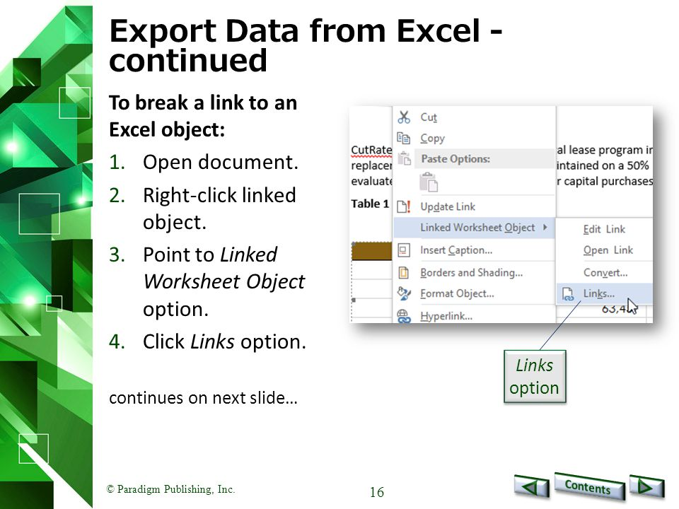 Export Data from Excel - continued