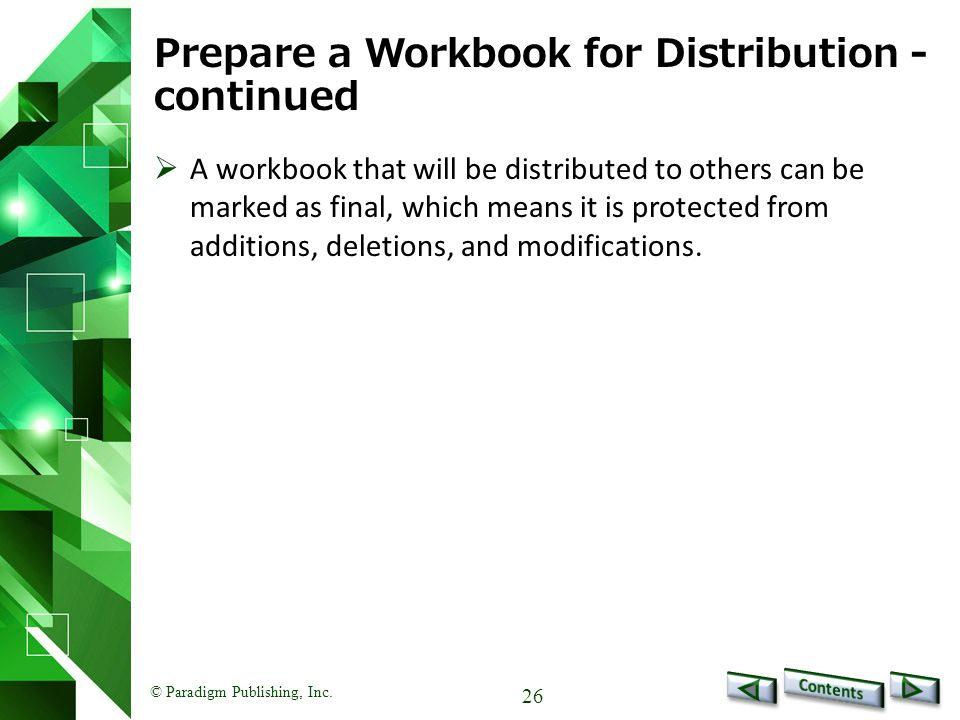 Prepare a Workbook for Distribution - continued