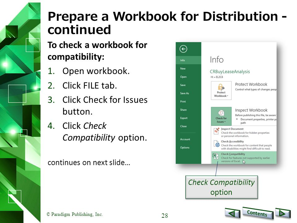 Prepare a Workbook for Distribution -continued