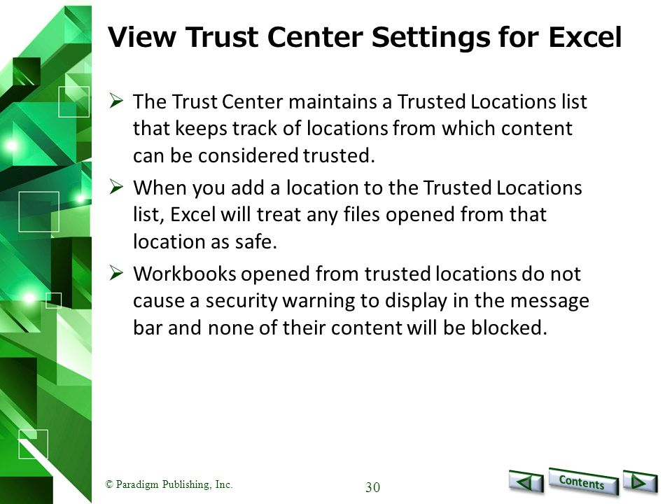 View Trust Center Settings for Excel