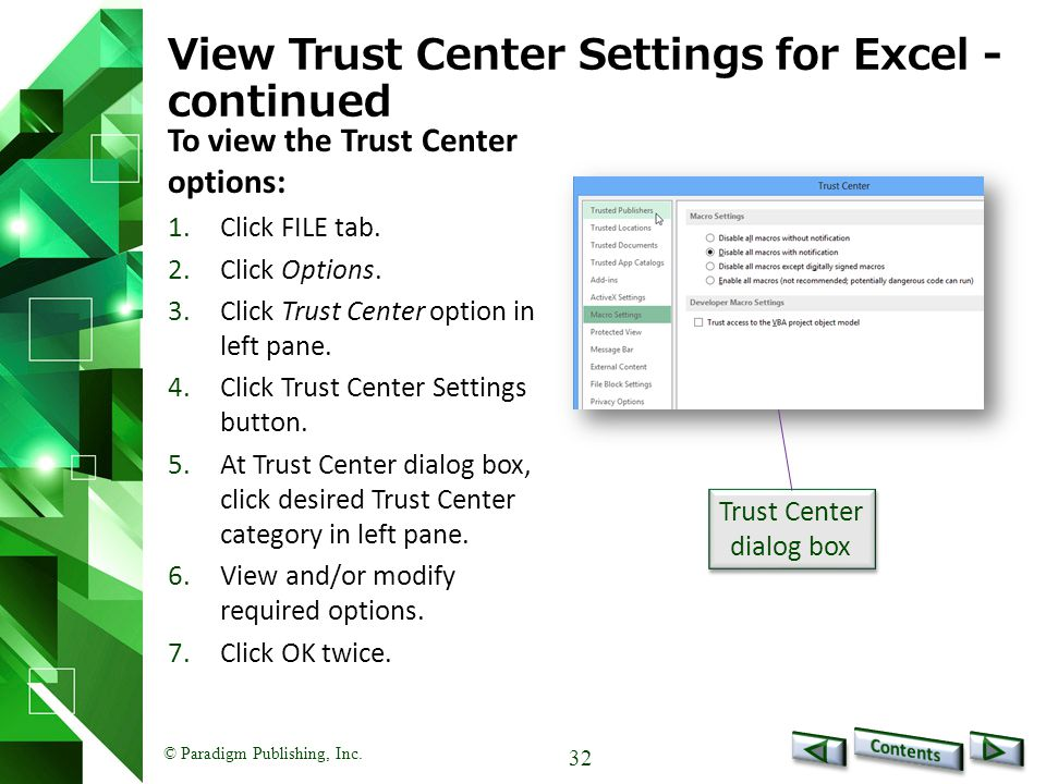 View Trust Center Settings for Excel -continued