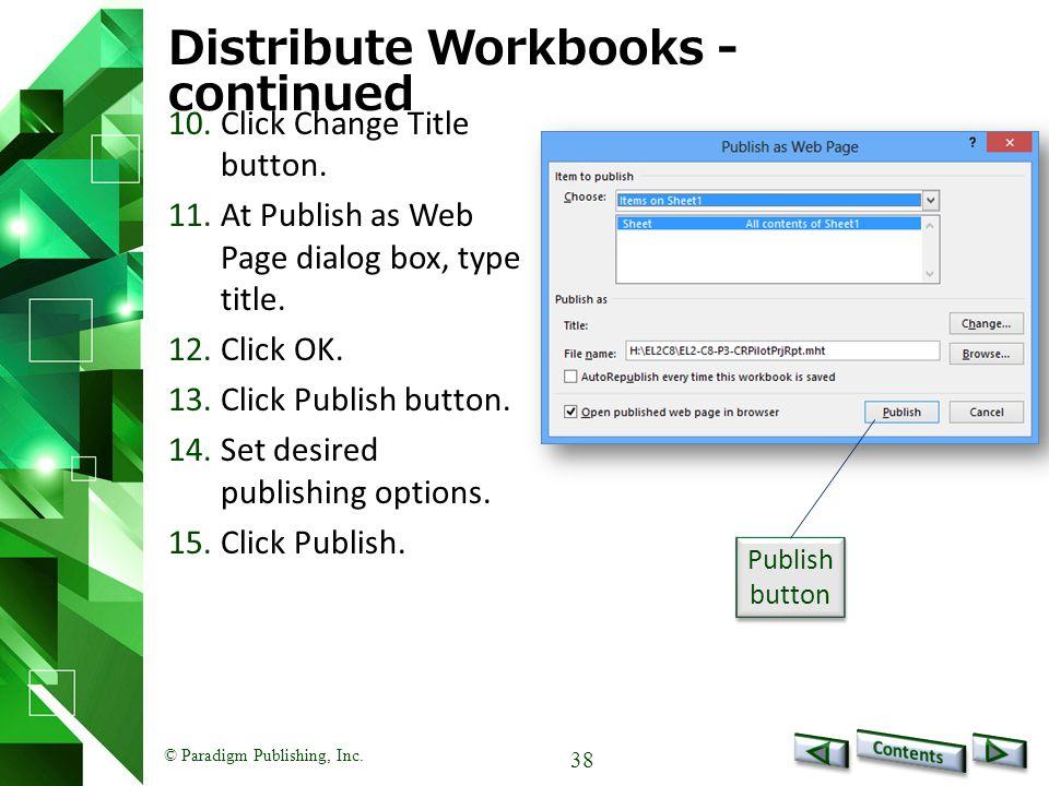 Distribute Workbooks - continued