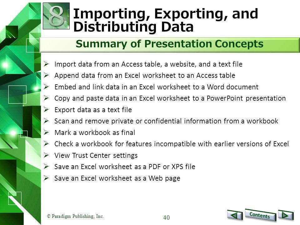 Importing, Exporting, and Distributing Data
